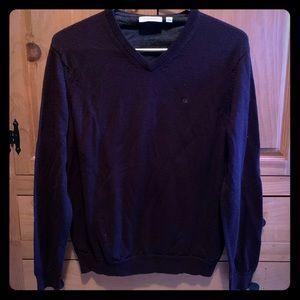 CK Deep Grape Colored Merino Wool V- Neck Sweater
